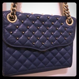 Blue and Gold Studded Rebecca Minkoff Leather Bag